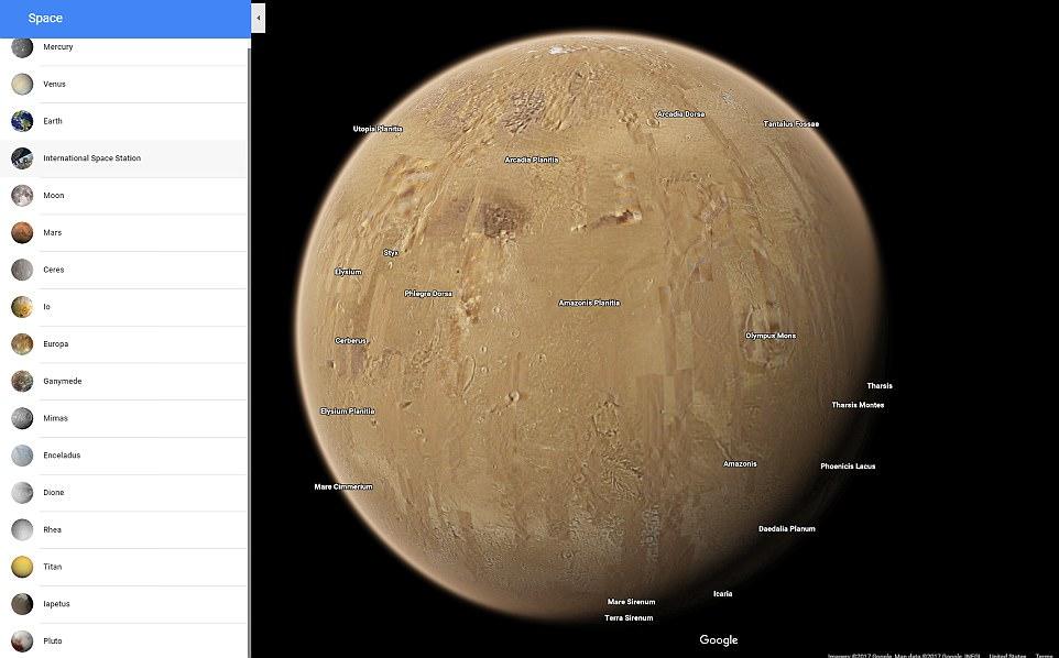 کاوش در سیارات منظومه شمسی با گوگل مپ
